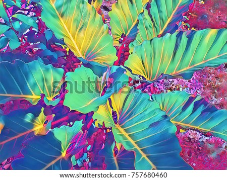 Tropical foliage plant in sunny garden. Summer foliage neon digital illustration. Natural leaf ornament. Exotic plants top view. Leaf background. Floral poster or banner template. Tropical garden
