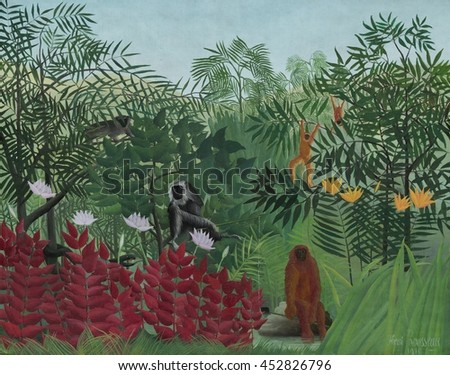 Tropical Forest with Monkeys, by Henri Rousseau, 1910, French painting, oil on canvas. Rousseau exaggerated the size of common plants and flowers, creating a lush environment for the creatures in his