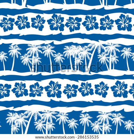 Tropical frangipani with beach palms seamless pattern .