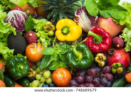 Tropical fresh fruits and vegetables organic after washed, Arrangement different vegetables organic for eating healthy and dieting #748689679