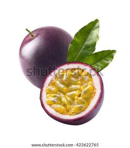Tropical fresh passion fruit leaves passionfruit leaves isolated on white background as package design element