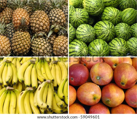 tropical fruit collage of four photos #59049601