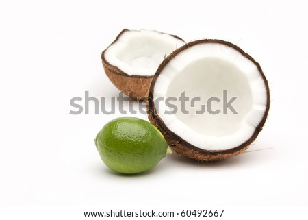 Tropical Fruit on white background - stock photo