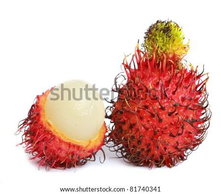 Tropical fruit - Rambutan fruit (dragon eye; Nephelium lappaceum) isolated over white background - stock photo