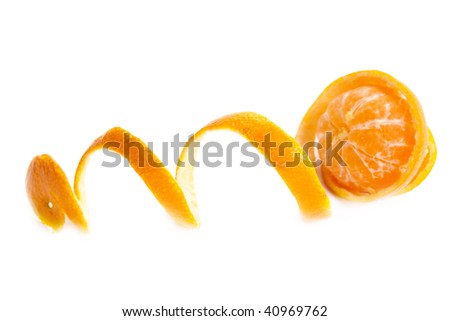 Tropical fruit. Tangerine with the taken off skin on a white background - stock photo