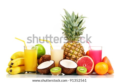 Tropical fruits and juice isolated on white