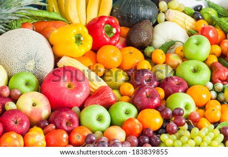 Tropical Fruits and vegetables - Shutterstock ID 183839855