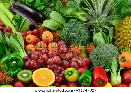 Tropical Fruits and vegetables, Fruits and vegetables  for healthy