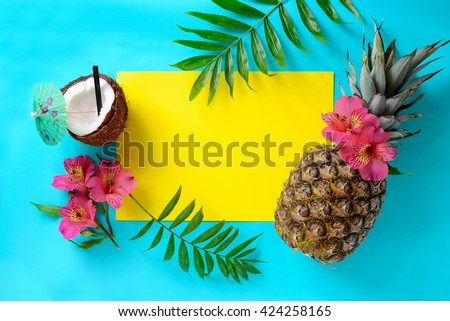 tropical fruits background with ...