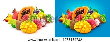 Tropical fruits. Heap of fresh exotic fruits isolated on white background, papaya, mango, pomegranate, carambola, mangosteen, kiwi, peach, grape
