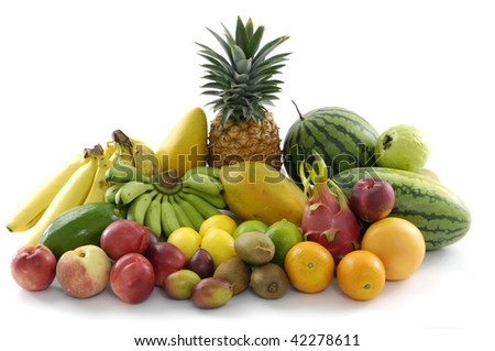 Tropical fruits on white