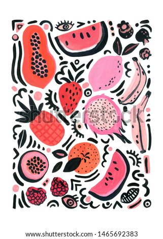 Tropical fruits poster. Unusual background with watermelon, banana, orange, lemon, raspberry, papaya, dragon fruit, strawberry, pop art doodles. Hand painted watercolor illustration in 80s 90s style.