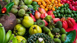 Tropical fruits showing multiple colors