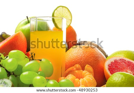 Tropical fruits with glasses