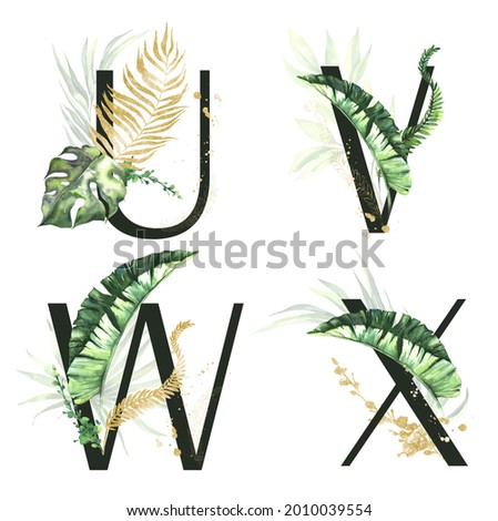 Tropical green and gold floral Alphabet collection - letters  U, V, W, X.  with green and gold tropical leaves. Tropical Set for wedding invitations and decoration. Zdjęcia stock ©