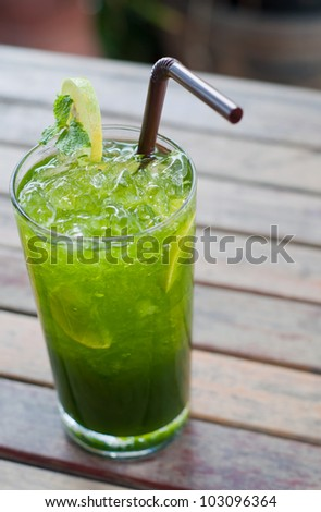 tropical green cocktail with lemon and fresh mint