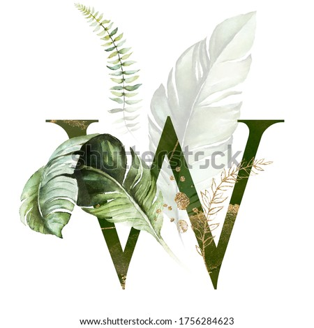 Tropical Green Gold Floral Alphabet - letter W with green gold leaves. Collection for wedding invites decoration, birthdays & other concept ideas. Zdjęcia stock ©