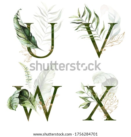 Tropical Green Gold Floral Alphabet Set - letters U, V, W, X with green gold leaves. Collection for wedding invites decoration, birthdays & other concept ideas. Zdjęcia stock ©