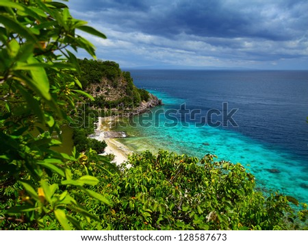Tropical green island and blue sea with coral reef. View from top of a mountain to Apo Reef Natural Park. Apo island, Philippines.