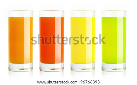 Tropical healthy juice isolated on white