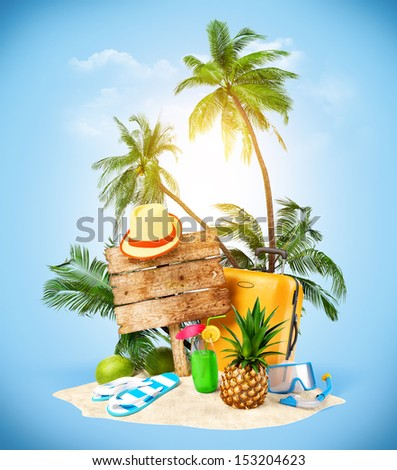 Tropical island. Creative collage. Traveling