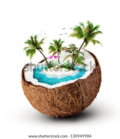 tropical island in coconut. Travelling, vacation