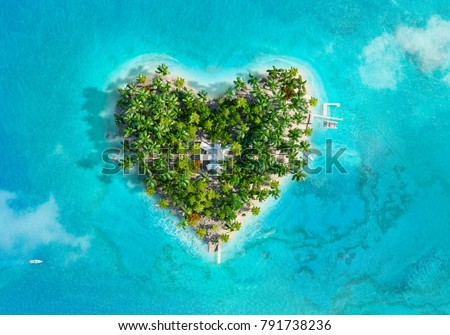 Tropical island in the shape of heart. Aerial view. 3D illustration