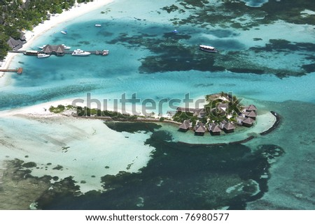 Tropical Island paradise - the Maldives, North Atoll. Aerial shot taken from a seaplane.
