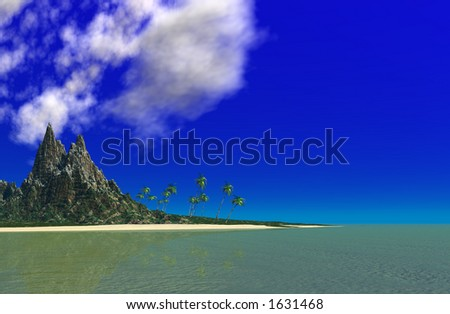 Tropical Island Paradise with Vibrant Blue Sky and Calm Ocean View in Landscape