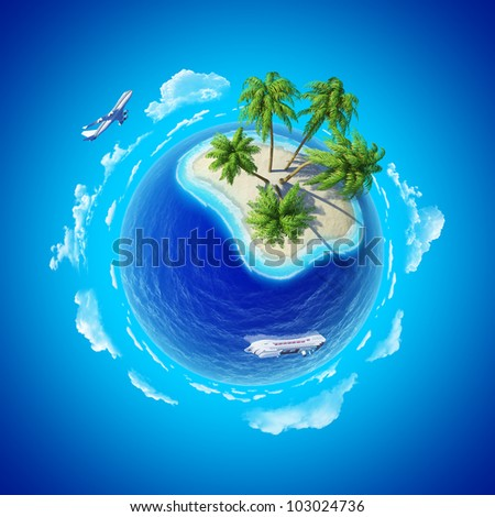 Tropical island, plane and cruise ship. Mini planet concept. Travel and business concept. Earth collection.