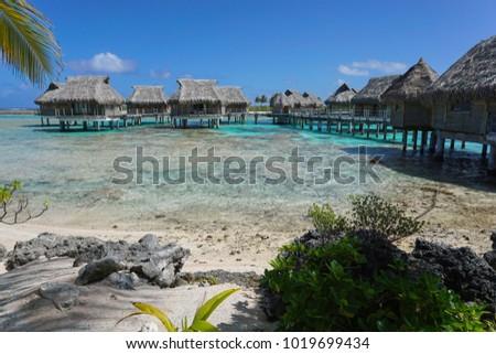 Tropical island resort with bungalows on stilt in the lagoon, Tikehau atoll, Tuamotus, French Polynesia, Pacific ocean, Oceania