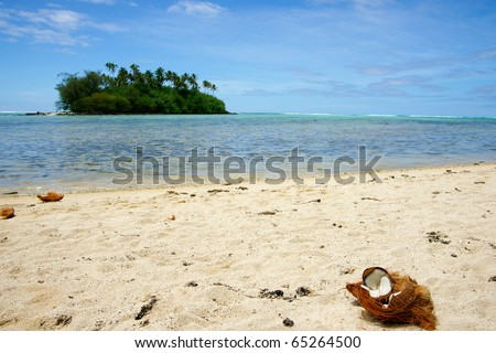 tropical island scene, Cook Islands in South Pacific.