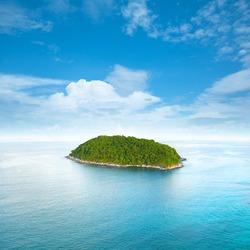 Tropical island. Square composition.