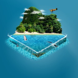 Tropical island with mountains and sea. isometric view.
