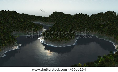 Tropical island with palm trees in the middle of mountains with palm trees - Three Dimension render