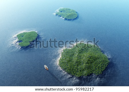 Tropical Islands Aerial View 3D render