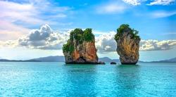 Tropical islands in tropical sea. Phuket sea islands landscape. Tropical sea islands view