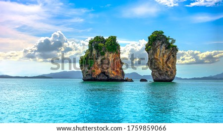 Tropical islands in tropical sea. Phuket sea islands landscape. Tropical sea islands view