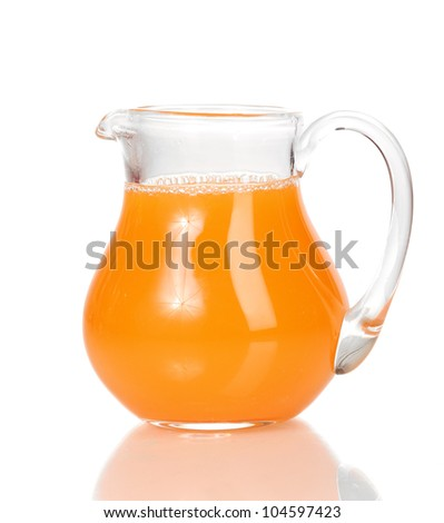 Tropical juice in glass pitcher isolated on white