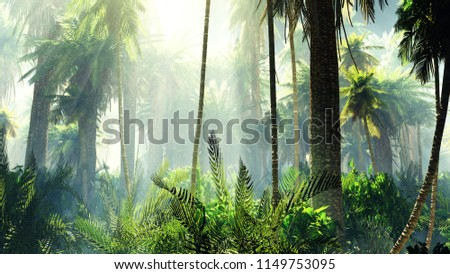 Tropical jungle in the fog. Palms in the morning. 3D rendering