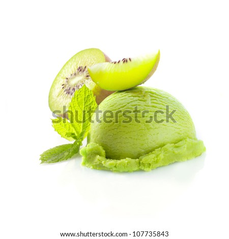 Tropical kiwi icecream dessert with delicious creamy green ice-cream served wioth fresh sliced kiwi fruit garnished with mint