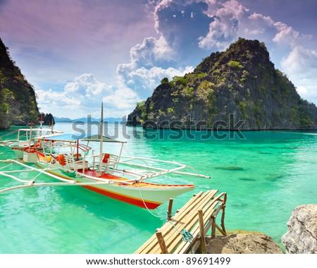 Tropical lagoon on the way to Kayangan lake. Coron island - Shutterstock ID 89691499