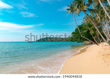 Tropical landscape at Koh Kood is a tropical island with emerald green water and beautiful tropical beaches in the clear blue sky. Koh Kood, Trat, Thailand.