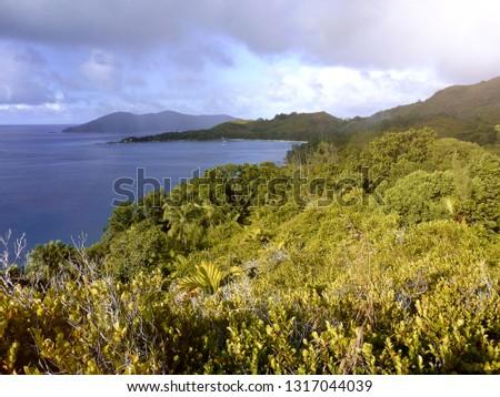 Tropical landscape at Praslin island at Seychelles Stok fotoğraf ©