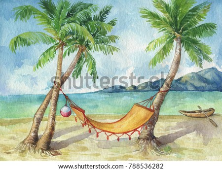 Tropical landscape coconut palms on the beach ocean, in bright sunny summer day. Relaxing, paradise vacation - hammock between palm trees at the seaside. Watercolor hand drawn painting illustration.