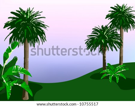 Tropical Landscape is hand drawn original artwork. - stock photo