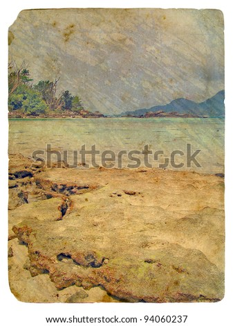 Tropical landscape, Seychelles. Old postcard, design in grunge and retro style
