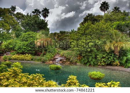 Tropical landscape with dark clouds.