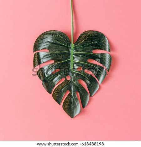 Tropical leaf in shape of a heart. Mothers day love concept. Flat lay. #618488198