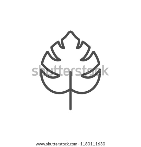 Tropical leaf line icon isolated on white